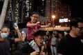 Hongkongers celebrate the results of the previous week's district council elections in Wong Tai Sin on November 30 last year. Photo: Reuters