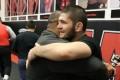 Daniel Cormier and Khabib Nurmagomedov hug during training at AKA. Photo: Instagram/Khabib Nurmagomedov