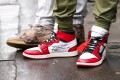 "A guest at Paris Fashion Week wears ""Off-White for Nike"" Air Jordan 1 sneakers. 2020 was a banner year for streetwear and sneaker aficionados. Photo: Getty Images"