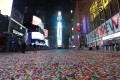 Gone were the revelry and shoulder-to-shoulder crowds that typify New York's Times Square on New Year's Eve, replaced by empty streets. Photo: EPA