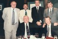 Tommy Docherty (seated left) with the Hong Kong Hamilton Academicals supporters club members (left to right, standing) Walter Gerrard, Derek Currie, Dr Frank Innes, Roger Perrin and (seated) David Allison. Photo: Handout
