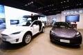 Tesla cars displayed at a showroom in Hangzhou, China. Source: SIPA Asia via ZUMA Wire