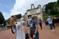 People take selfies at a tourist attraction in Malacca, Malaysia, in December 2020. Photo: Xinhua