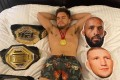 Former UFC bantamweight champion Henry Cejudo 'sleeps' with his belts and pillows featuring Demetrious Johnson, TJ Dillashaw and Dominick Cruz's faces. Photo: Instagram/Henry Cejudo