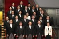 The cabinet of Prime Minister Yoshihide Suga, front centre, has just two women: Olympics Minister Seiko Hashimoto, bottom right, and Justice Minister Yoko Kamikawa, centre of the third row. Photo: AP