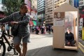 An exhibit representing a nano flat, displayed by the Hong Kong Subdivided Flats Concerning Platform in Causeway Bay in January 2019. Photo: Nora Tam