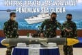 in Jakarta, Indonesia, on Monday, Indonesian Navy chief Yudo Margono explained how a 'Sea Glider' was found by fishermen near Selayar Island, South Sulawesi. Photo: Antara Foto/Reuters