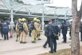 Police and firefighters at Chinese University in Sha Tin on Monday. Photo: Facebook