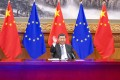 Chinese President Xi Jinping attends a video conference on December 30 with EU leaders to conclude long-standing negotiations on an EU-China investment agreement. China has committed to a negative-list approach to all sectors, services and non-services alike. Photo: Xinhua