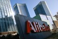 The Alibaba logo is seen in front of the company's offices in Beijing. Photo: Reuters
