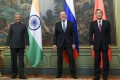 India's Foreign Minister S. Jaishankar (from left), Russia's Foreign Minister Sergey Lavrov and China's Foreign Minister Wang Yi at a Shanghai Cooperation Organisation summit in Moscow on September 10. Photo: Russian Foreign Ministry Press Service via AP