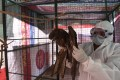 A volunteer wearing personal protective equipment as a precaution against the spread of bird flu attends to an injured rescued bird at a temporary shelter in Ahmedabad. Photo: AFP