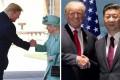 Donald Trump with Queen Elizabeth and Xi Jinping. Photos: @theroyalfamily/Instagram, @HornedPoet/Twitter