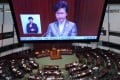Chief Executive Carrie Lam gives her policy address at the Legislative Council last November. Photo: Felix Wong