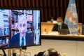 Anthony Fauci, US President Joe Biden's medical adviser, speaks remotely during a World Health Organization executive board meeting on Thursday. Photo: AFP