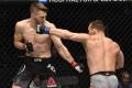 Michael Chandler punches Dan Hooker in their lightweight fight during UFC 257. Photos: Jeff Bottari/Zuffa LLC