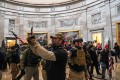 Supporters of then-US president Donald Trump enter the US Capitol's Rotunda on January 6 in Washington. Photo: AFP
