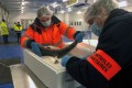 Agents carry out sanitary control checks on salmon exported from Britain in the port of Boulogne-sur-Mer, France. Photo: Reuters