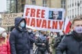 "Protesters in Berlin hold a banner reading ""Free Navalny"" on January 23. Berlin is home to a large expatriate Russian community. Photo: Getty Images Europe / TNS"