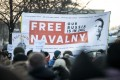 People at a rally to protest against the detention of Alexei Navalny. Photo: dpa