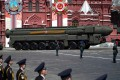 A Russian army RS-24 Yars ballistic missile system moves through Red Square during a military parade, in June 2020. Photo: AFP