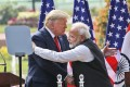 Then US president Donald Trump and Indian Prime Minister Narendra Modi embrace after giving a joint statement in New Delhi on February 25, 2020. Photo: AP