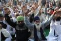 Indian farmers during a farmers protest at the Delhi Ghazipur Border near New Delhi, India, on Saturday. Photo: EPA-EFE