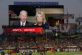US President Joe Biden and first lady Jill Biden are seen on a scoreboard screen in Tampa, Florida, delivering a message before Super Bowl 55. Photo: AP
