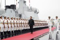 Chinese President and Central Military Commission Chairman Xi Jinping inspects a navy honour guard before boarding the destroyer Xining at a pier in Qingdao, in China's eastern Shandong province in April 2019. Photo: Xinhua