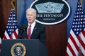 US President Joe Biden speaking at the Pentagon in Washington on Wednesday. Photo: AFP