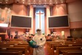A disinfection worker at the Yoido Full Gospel Church in South Korea amid concerns over the spread of the coronavirus. Photo: Getty Images