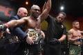 Kamaru Usman celebrates after his victory over Gilbert Burns in their UFC welterweight championship fight at UFC 258 in Las Vegas, Nevada. Photos: Jeff Bottari/Zuffa LLC