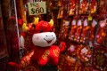An ox soft toy displayed for sale at a market in Hong Kong on February 11, the eve of the Lunar New Year. Photo: AFP