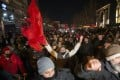 Supporters of the left-wing Self-Determination Movement party gather in Pristina, the capitol of Kosovo, on Sunday. Photo: AP