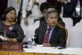 Singapore's Foreign Minister Vivian Balakrishnan, right, said he hoped Myanmar President Win Myint and civilian leader Aung San Suu Kyi would be released from detention. Photo: AP