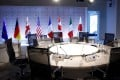 G7 member flags on display ahead of a working session at the group's last face-to-face meeting in April 2019. Photo: AFP