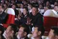 Ri Sol-ju and Kim Jong-un watch a performance marking the birthday of former leader Kim Jong-il in Pyongyang. Photo: AP