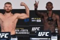 Jan Blachowicz and Israel Adesanya at their UFC 253 weigh-ins on Fight Island in Abu Dhabi. Photos: Josh Hedges/Zuffa LLC via Getty Images