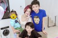 Hong Kong actress Cecilia Cheung and her three sons, with the face of her youngest child covered to protect his identity. Photo: Weibo