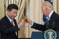 Then-US vice-president Joe Biden and Chinese President Xi Jinping toast during a state diner for China hosted at the Department of State in Washington on September 25, 2015. Biden expressed concerns to Xi about human rights in Hong Kong and Xinjiang on February 10 in their first call since Biden took office on January 20, according to the White House. Photo: AFP