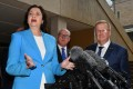 Queensland Premier Annastacia Palaszczuk and Australian Olympic Committee president John Coates at a news conference on Brisbane's bid to host the 2032 Olympics. Photo: Reuters