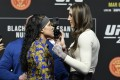 Amanda Nunes (left) and Megan Anderson face off during the UFC 259 press conference at UFC Apex on March 4, 2021 in Las Vegas, Nevada. Photos: Jeff Bottari/Zuffa LLC
