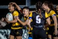 USRC Tigers Ladies score a try against Valley Black Ladies in round two of the women's domestic league in Kings Park Sports Ground, Ho Man Tin in November 2020. Photo: Ike Images