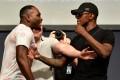 Derek Brunson and Israel Adesanya face off during the UFC press conference on August 3, 2018 in Los Angeles, California. Photo: Jeff Bottari/Zuffa LLC/Zuffa LLC via Getty Images
