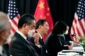 Yang Jiechi (centre) and Wang Yi (left) led the Chinese delegation in Anchorage, Alaska. Photo: AFP