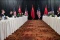 The talks in Alaska began with a public spat. Photo: Pool/ AP