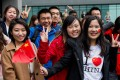Chinese students wait to greet President Xi Jinping on a 2015 visit to Manchester University. Britain is the most favoured academic destination for Chinese students, according to a recent survey. Photo: AFP