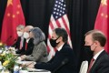 US Secretary of State Antony Blinken (second from right) and national security adviser Jake Sullivan (right) during talks with top Chinese officials in Anchorage, Alaska on March 18. Photo: AP