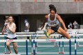 Vera Lui clears the bar on her way to winning the 100m hurdles at the 2021 Athletics Series 1 at Tseung Kwan O Sports Ground. Shing Cho-yan (left) was third. Photo: HKAAA