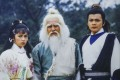 """An image of (from left) Barbara Yung, Lau Dan and Felix Wong, the leads in TVB's """"The Legend of the Condor Heroes"""", on display in the Jin Yong Gallery in Hong Kong Heritage Museum. The TVB classic is based on the Jin Yong novel of the same name. Photo: Nora Tam"""